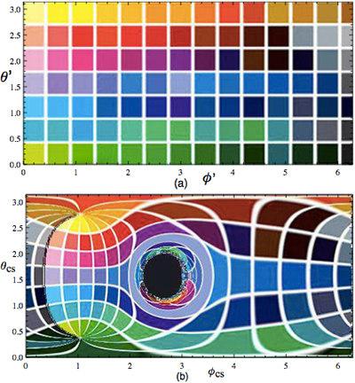 Diagramme montrant comment un trou noir dévie la lumière (Diagramme mis à disposition par Kip Thorne)