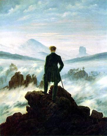 Le voyageur au-dessus de la mer de nuage par Caspar David Friedich