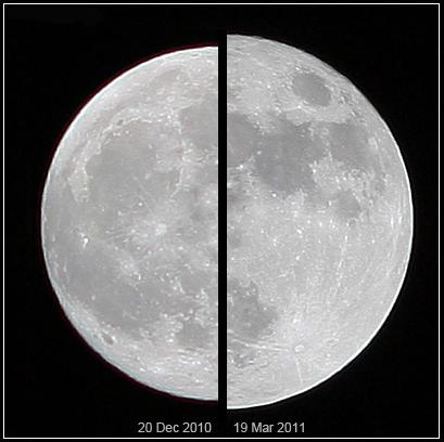 La super lune du 19 mars 2011 (droite) comparée à une lune moyenne du 20 décembre 2010. Crédits : Marco Langbroek/Wikimedia Commons.