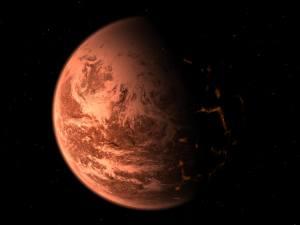 Vue d'artiste d'une exoplanète désertique, inspirée par la découverte de la planète Gliese 876 d