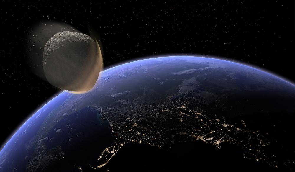 Un astéroïde impactant la Terre.