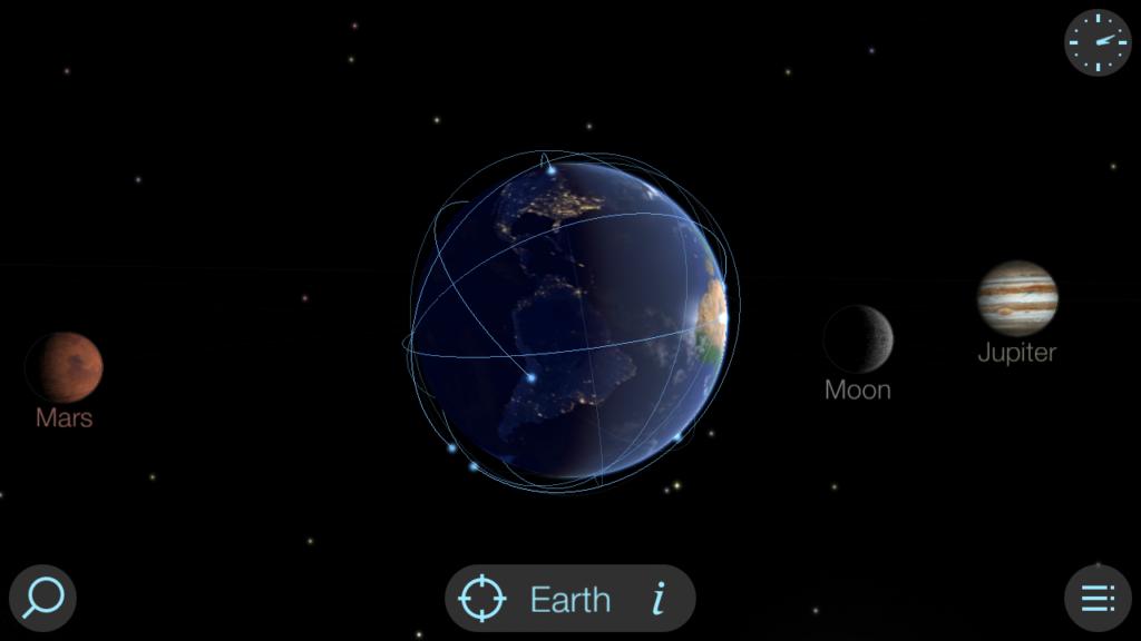 Capture d'écran de l'application Solar Walk Lite, avec une vue sur la Terre et les planètes alentour (pas à l'échelle).