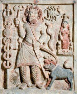 Reproduction photographique d'une ancienne gravure représentant le dieu mésopotamien Nergal